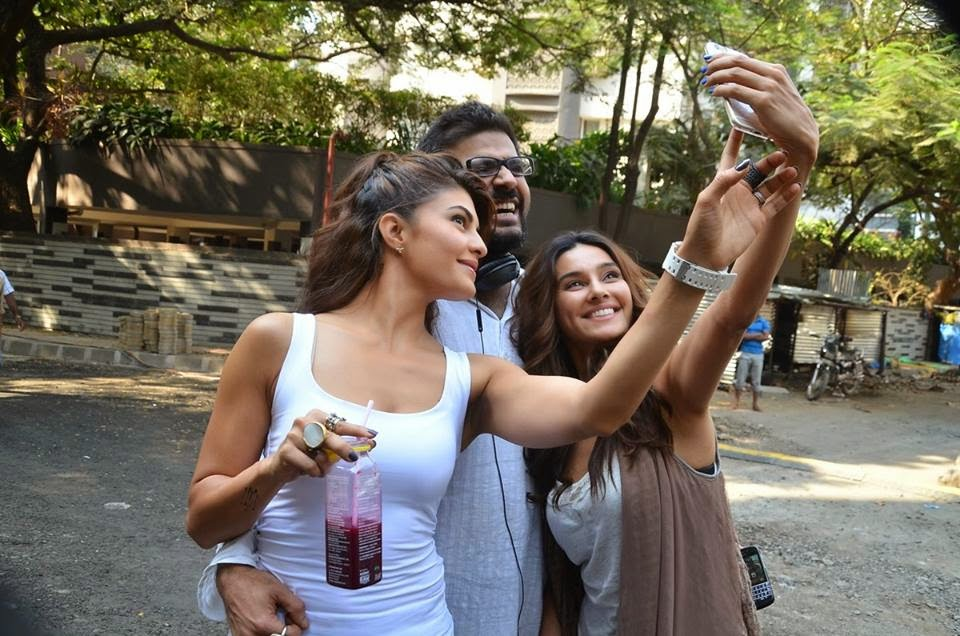Bollywood actress Jacqueline Fernandes on the sets of Roy