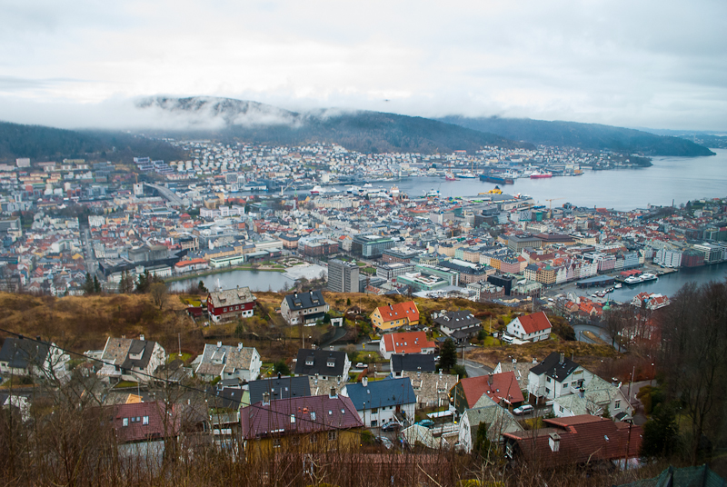 Panoramic view from mount floyen in bergen norway