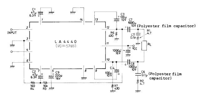 Bridge Circuit diagram for LA4440 Audio Amplifier 2x6w / 1x19W