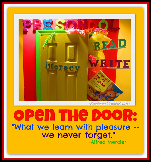 "photo of: Preschool is the Open Door to Literacy! ""What we learn with pleasure we never forget."" via RainbowsWithinReach"