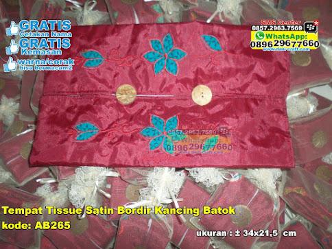 Tempat Tissue Satin Bordir Kancing Batok grosir