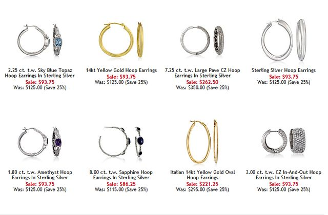 earring size chart images