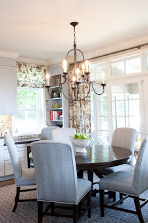 Fascinating Details in the Traditional Dining Space with Grey Upholstered Dining Chairs and Rounded Wooden Table