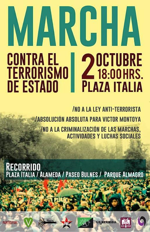 SANTIAGO CENTRO: MARCHA, CONTRA EL TERRORISMO DE ESTADO