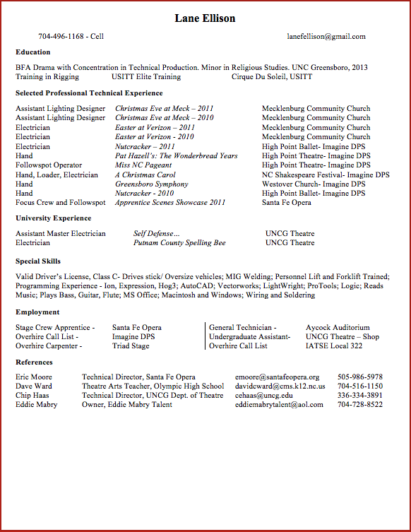 electrician resume theatre - Sample Resume For Electrical Technician