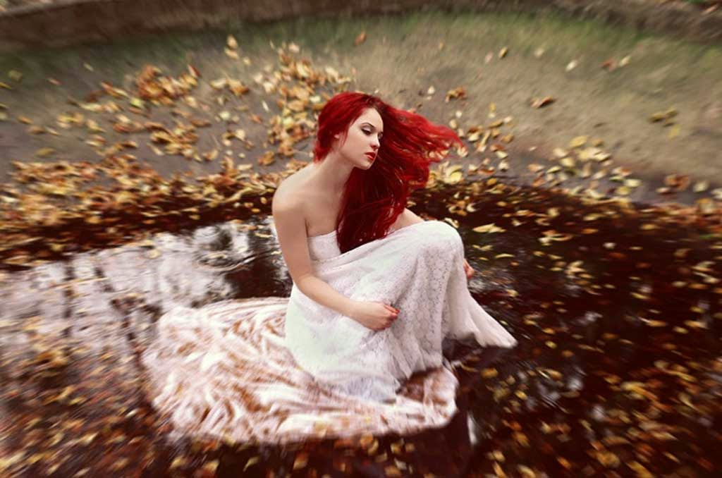 Beautiful Red Hair Female Model Image