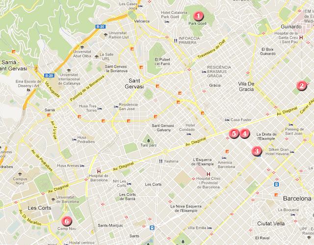 Ruta por Barcelona, mapa día 1