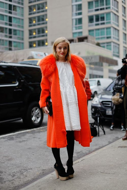 colourful winter coat NYFW