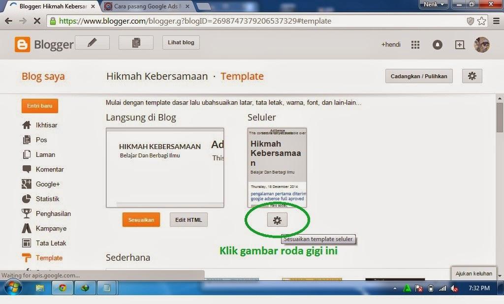 cara iklan adsense di blog