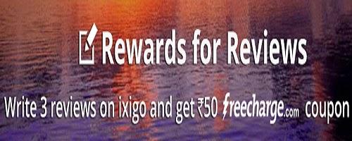 Ixigo : Recharge of 50 for  3 approved reviews by ixigo