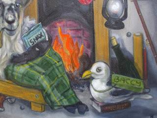 detail from sea penguin painting by barry nicol all rights reserved
