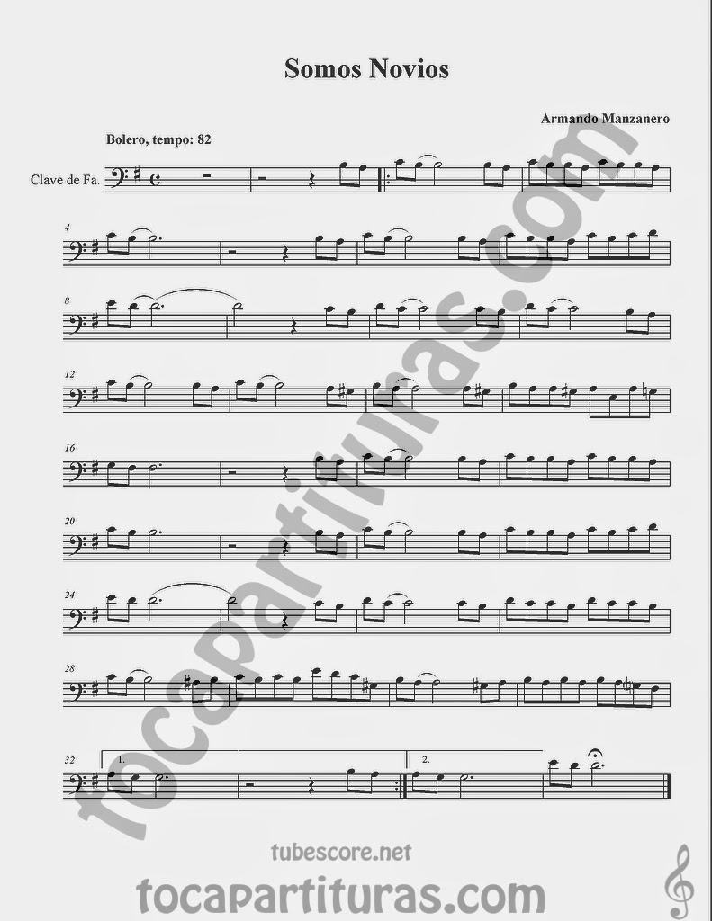 Somos Novios Partituras en Clave de Fa en 4º Línea para Trombón, Chelo, Fagot, Bombardino, Tuba y otros instrumentos  Sheet Music in Bass Clef for Trombone, Chelo, Bassoon, Tube, Euphonium...
