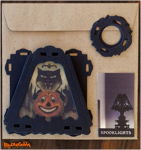 Limited run paper art diecuts by holiday Halloween artist Bindlegrim features German style designs on a shade that can be a pendant or used with a lamp shade base (sold separately).