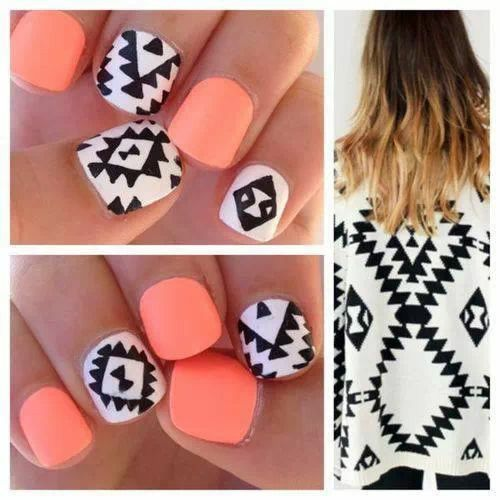 Tribal nail art trend quirky nail art for all nails take inspiration from aztec print outfits match it with bold colors and voila you have the tribal nails perfect for the day prinsesfo Image collections