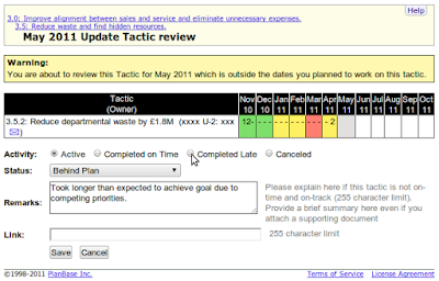 Tactic Review Screen showing description, dates, and past performance