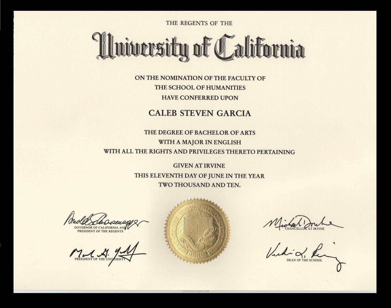 Caleb S Garcia Uci Diploma