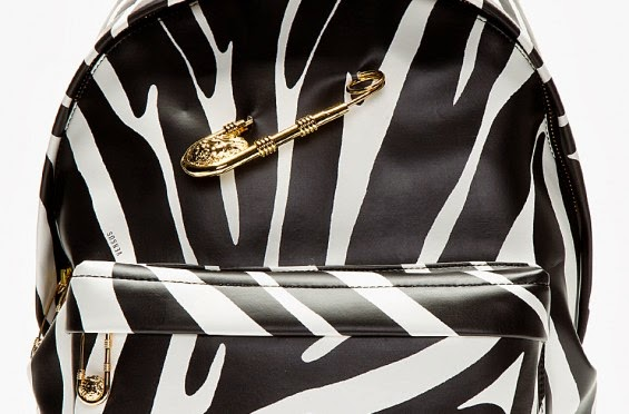 Versus Versace Black Zebra Print Safety Pin Backpack