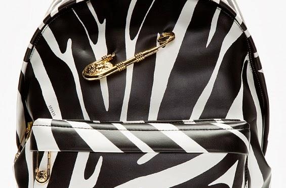 Versus Versace Black Zebra Print Safety Pin Backpack