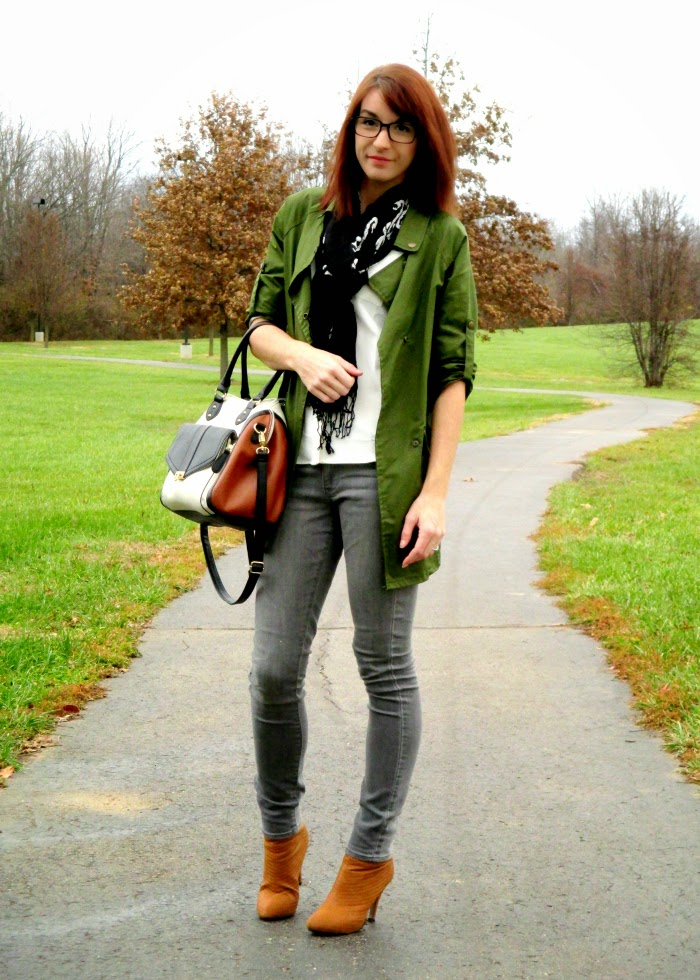How to style a military jacket camel boots and grey jeans