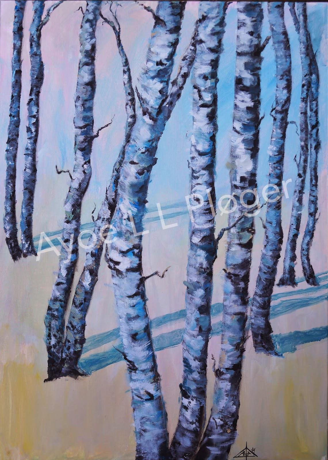 Kunst, maleri, acryl on canvas, birketræer, moderne kunst, skov, ro
