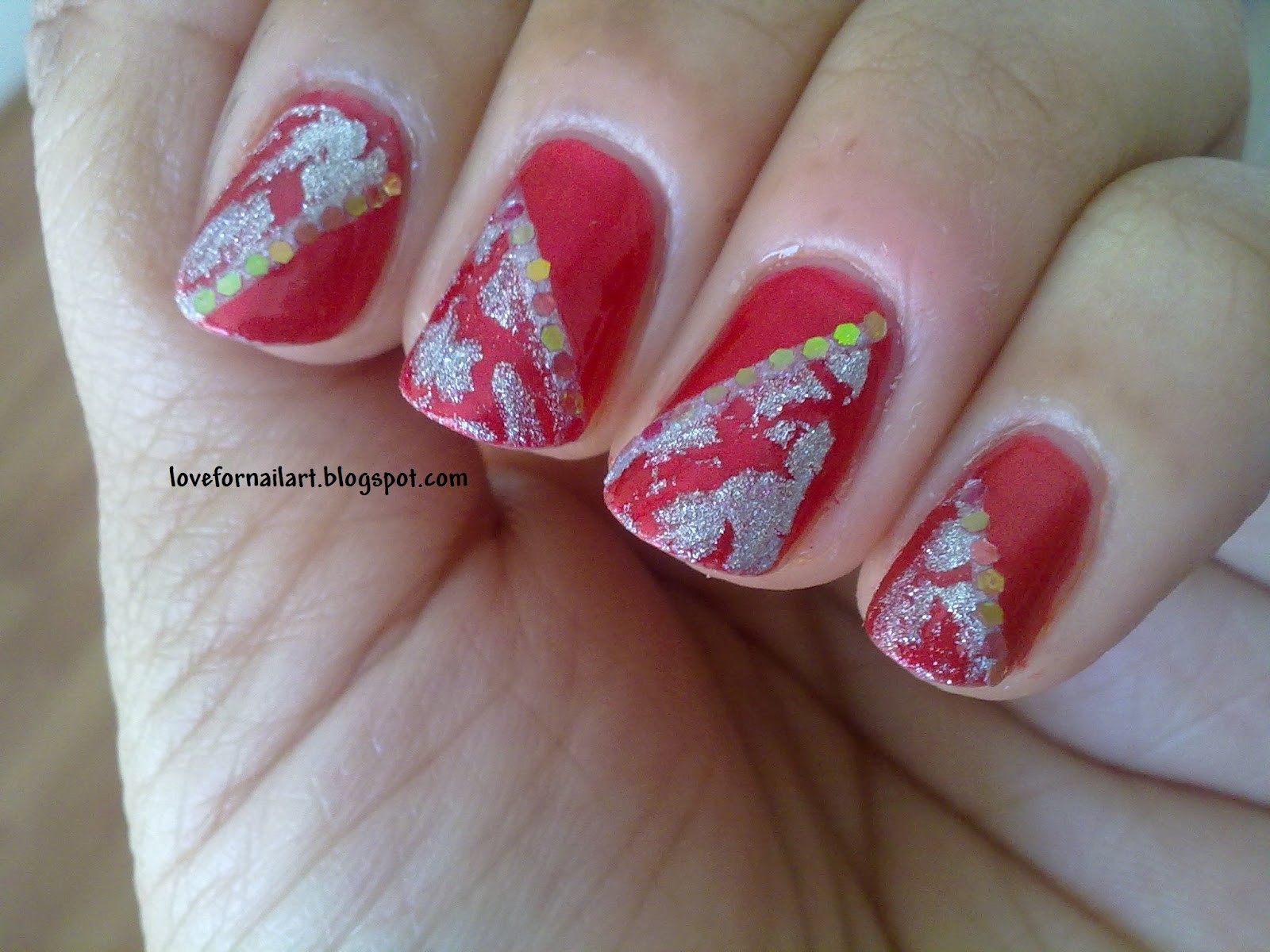 Love For Nail Art: Red And Silver Crackled Glittery Nails