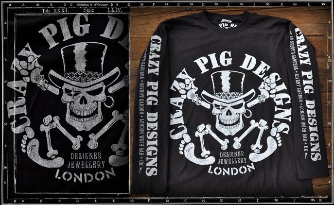Crazy Pig Designs Evil Skull T Shirt