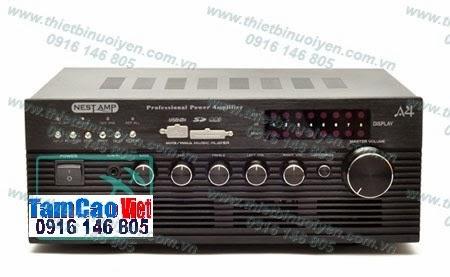 NestAmp A4 Swiftlets Amplifier - Âm ly dùng trong nhà Yến. Tải 90-100 loa trong nhà Yến. Thông số kỹ thuật: Công suất (Power Output): 2 x 40W (4ohm)/ 2 x 32W (8ohm) Đáp tuyến tần số (Frequency Response): 1W +/-0.2 dB (20Hz~20KHz) Tỉ số tín hiệu trên tạp âm (S/N Ratio - Signal to Noise Ratio): 85dB Điện thế: 240V 50Hz Kích cỡ: 320cmx 130cmx 236cm Nặng: 3.5kg