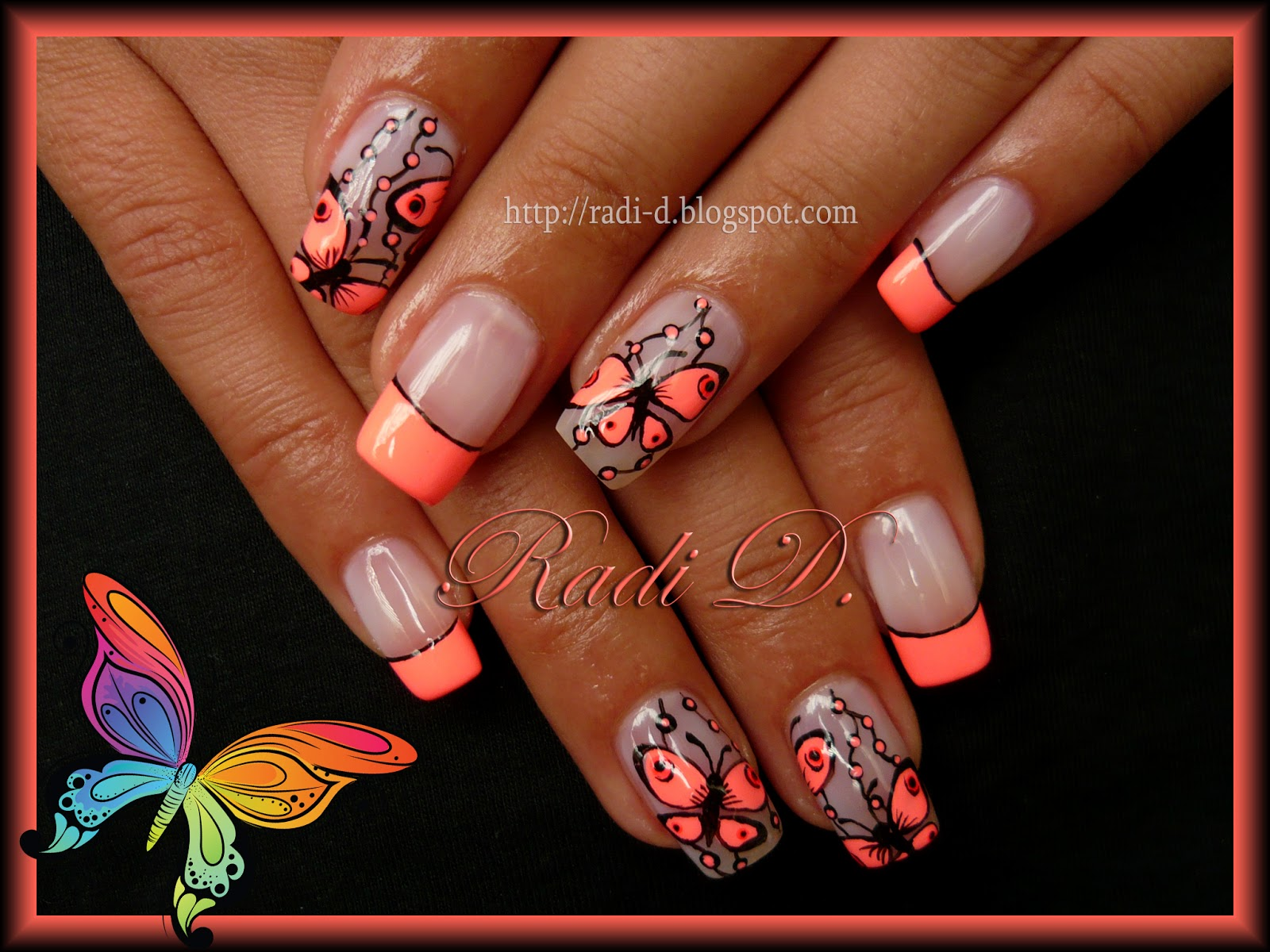 It`s all about nails: Neon French & Butterflies