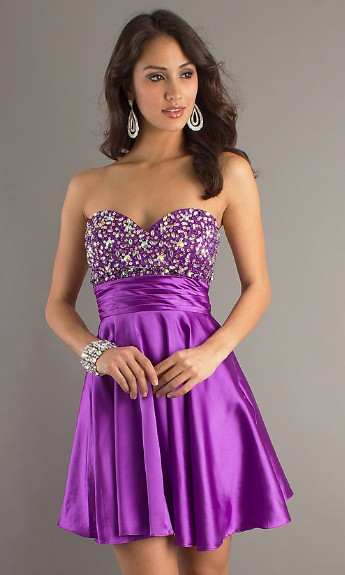 Purple Prom Dresses Short Hair Has Many Hair Styles