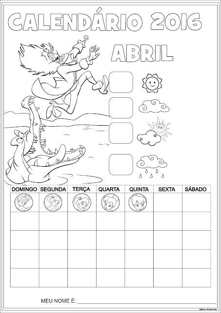 Calendários Escolares Peter Pan 2016 para Colorir Sem Numeração
