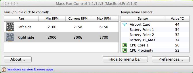 Macs Fan Control, MacBook Pro