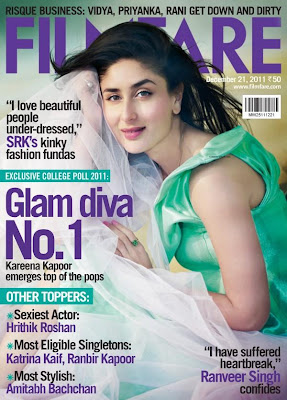 Kareena kapoor on the cover of Filmfare Dec 2011