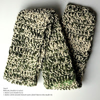 Suede and Green Mixed Textured Crochet Scarf
