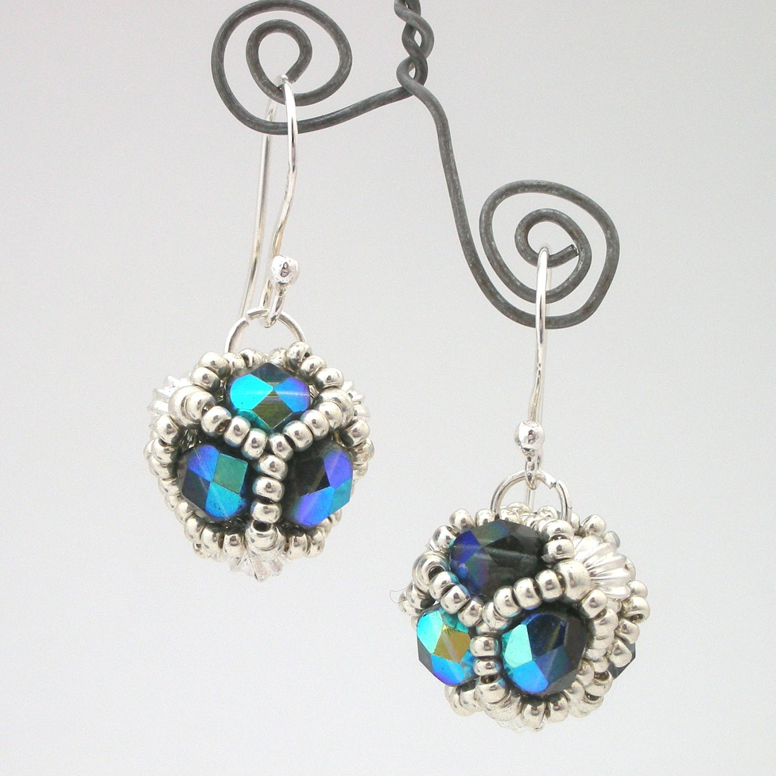beads earrings beaded geometric pattern jewelry hoop cfwt p seed big il beadwork blue fullxfull
