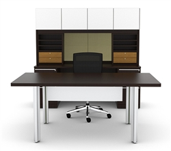 White Glass Executive Desk