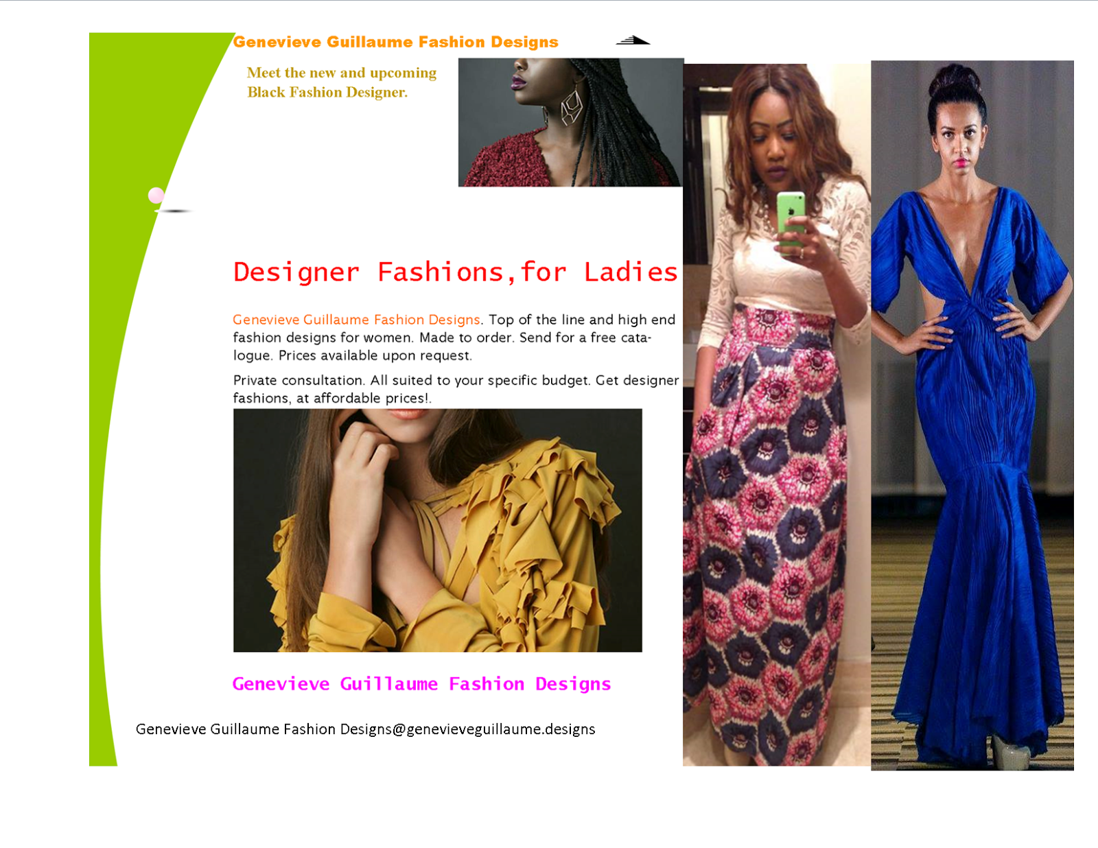 Get To Know Your Designers. Afro-Canadian Fashion Designer, Genevieve Guillaume.