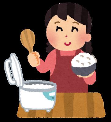 ご飯を山盛りよそっているお母さんのイラスト