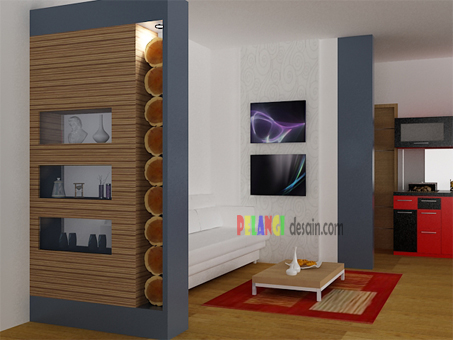 kitchenset pelangi desain interior partisi simpel ruang