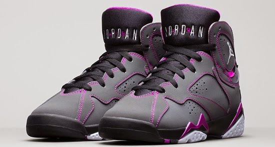 This is the first Girls Air Jordan 7 Retro GS that will be releasing in  extended gradeschool sizes. They come in a dark grey, white, black and  fuchsia force ...