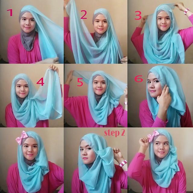 Cara memakai jilbab segi empat untuk sekolah How to wear hijab fashion style step by step dailymotion