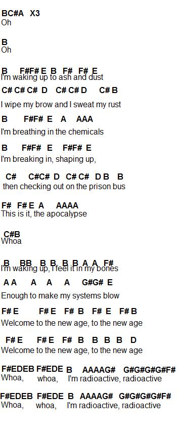 Piano u00bb Radioactive Piano Chords - Music Sheets, Tablature, Chords and Lyrics