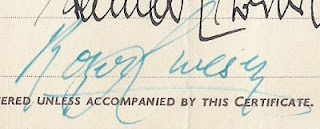 detail from the share certificate showing signature of Roger Livesey
