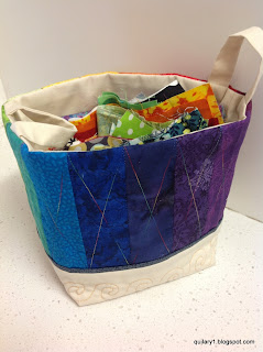 Rainbow scrappy basket (cool colours) and scraps