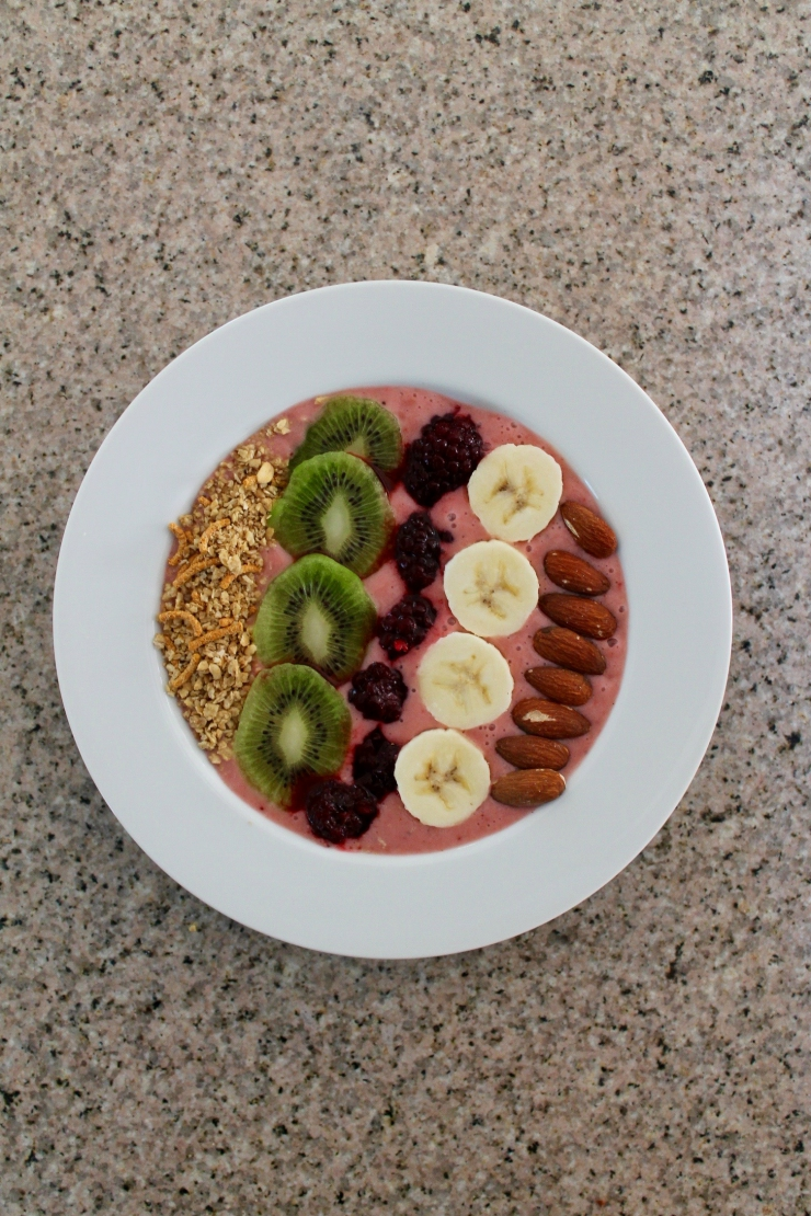 Smoothie Bowl recipe- banana, almond, kiwi, blackberry, strawberry and granola