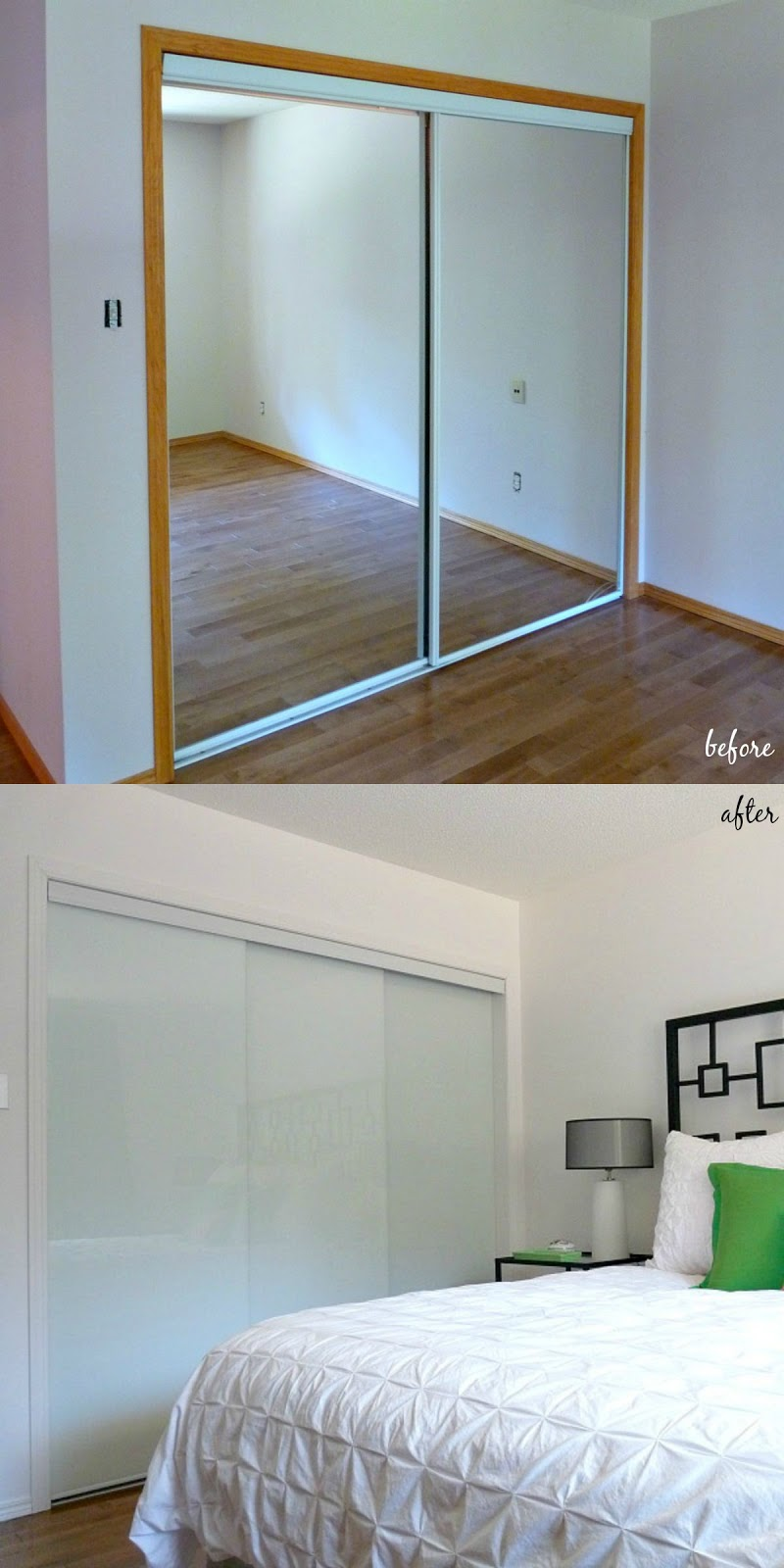 new white glass sliding closet doors in the bedroom dans le lakehouse. Black Bedroom Furniture Sets. Home Design Ideas