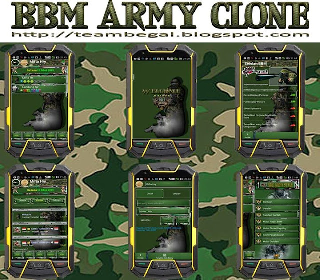 BBM Mod Green Army Themes Clone v2.8.0.21 Apk
