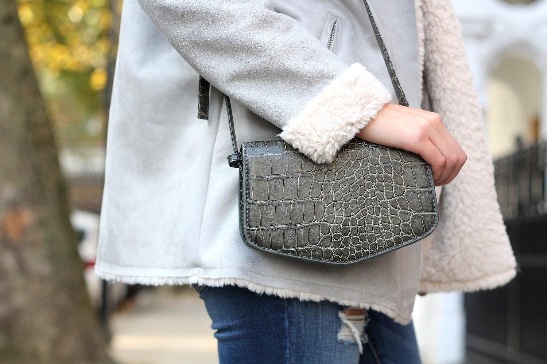 peexo fashion blogger with croc print bag marc b