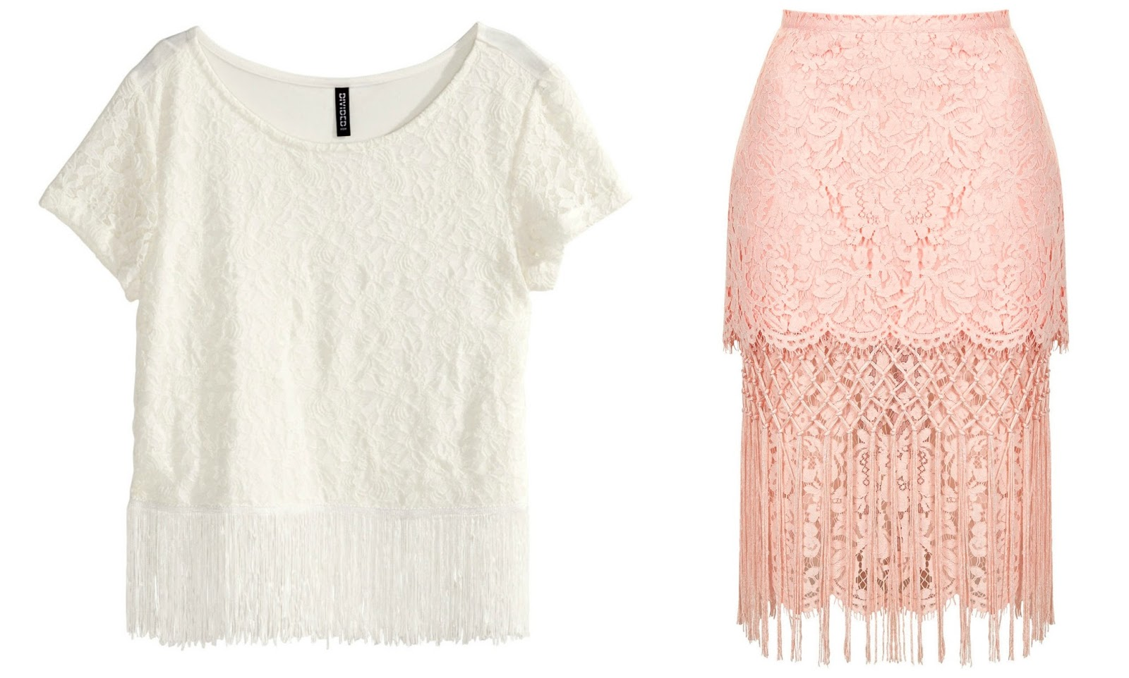 lace fringe top pencil skirt