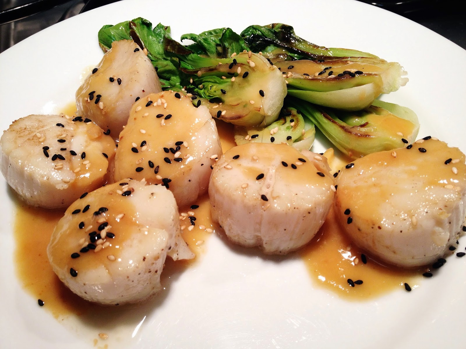 Scallops and Baby Bok Choy with Miso Sauce
