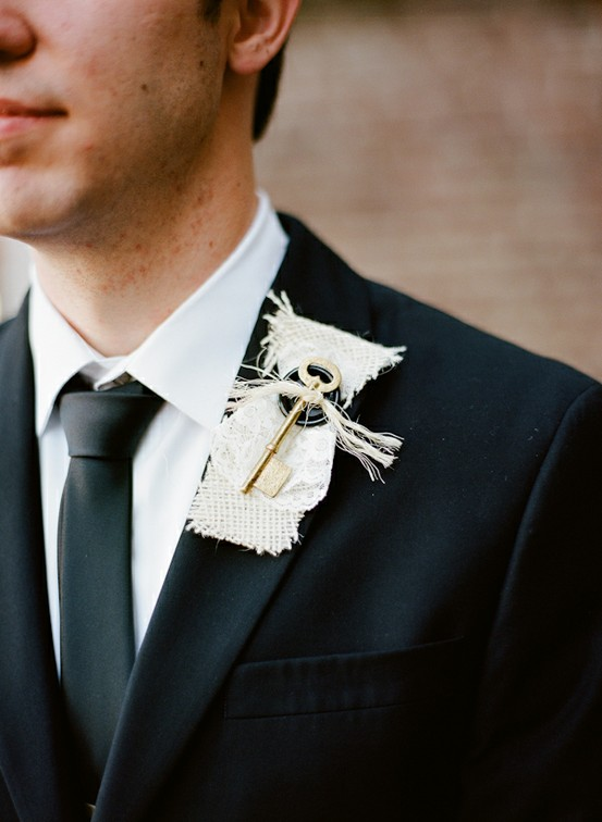 Unique Non-Floral Boutonnieres for Weddings - boutonniere using a vintage key